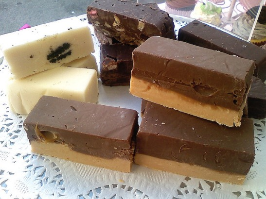 Slices of chocolate fudge.