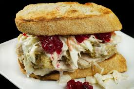 Leftover Thanksgiving Turkey Sandwich complete with stuffing and cranberry sauce